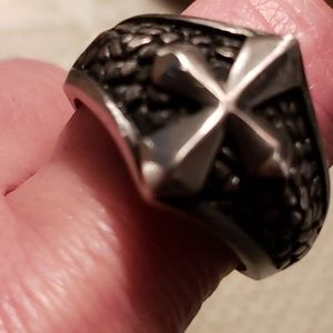 Jewelry - Stainless steel Iron Cross Ring sz 11